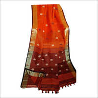 Ladies Trendy  Linen Ball Buti Saree