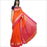 Ladies Border Printed Khadi Saree