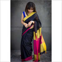 Ladies Plain Border Khadi Sarees