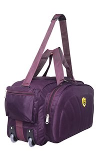Hard Craft Polyester Nylon Wine Lightweight Waterproof Duffle with Extra Compartments and Roller Wheels