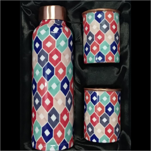 Digital Printed Copper Bottle With Glass Set