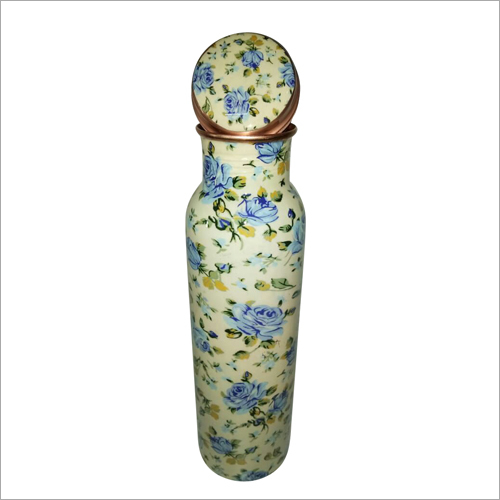 Floral Printed Copper Bottle