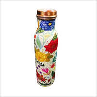 Digital Floral Printed Copper Bottle