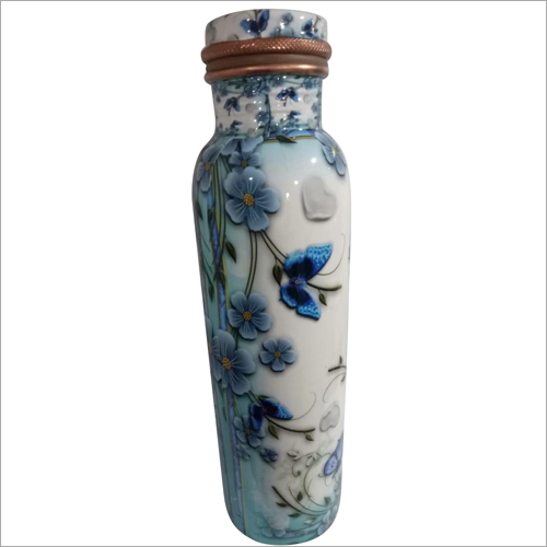 Floral Design Printed Copper Bottle