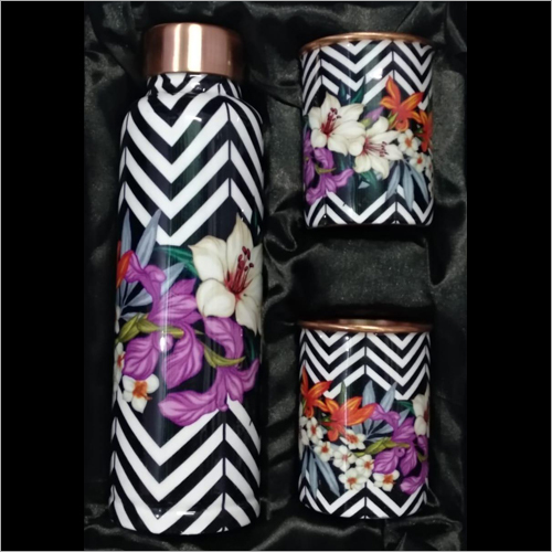 Floral Printed Copper Bottle With Glass Set