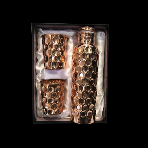 Copper Diamond Hammered Bottle Glass Set