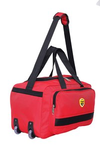 Hard Craft Nylon Lightweight Waterproof Red Luggage Travel Bag with Roller Wheels