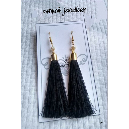 Long Silk Tassel Earring