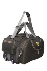 Hard Craft Duffle Luggage Travel Bag with Multiple Pockets & Roller Wheels