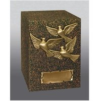 Doves Cube Urn with Gold Nameplate