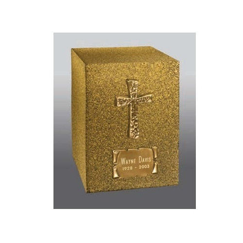 Contemporary Cross Bronze Urn