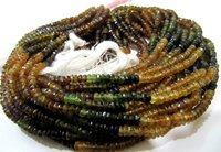 Natural AAA Quality Petrol Tourmaline Rondelle Faceted Shaded Beads Size 4mm