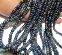 Natural Black Ethiopian Opal Rondelle Plain Smooth Beads