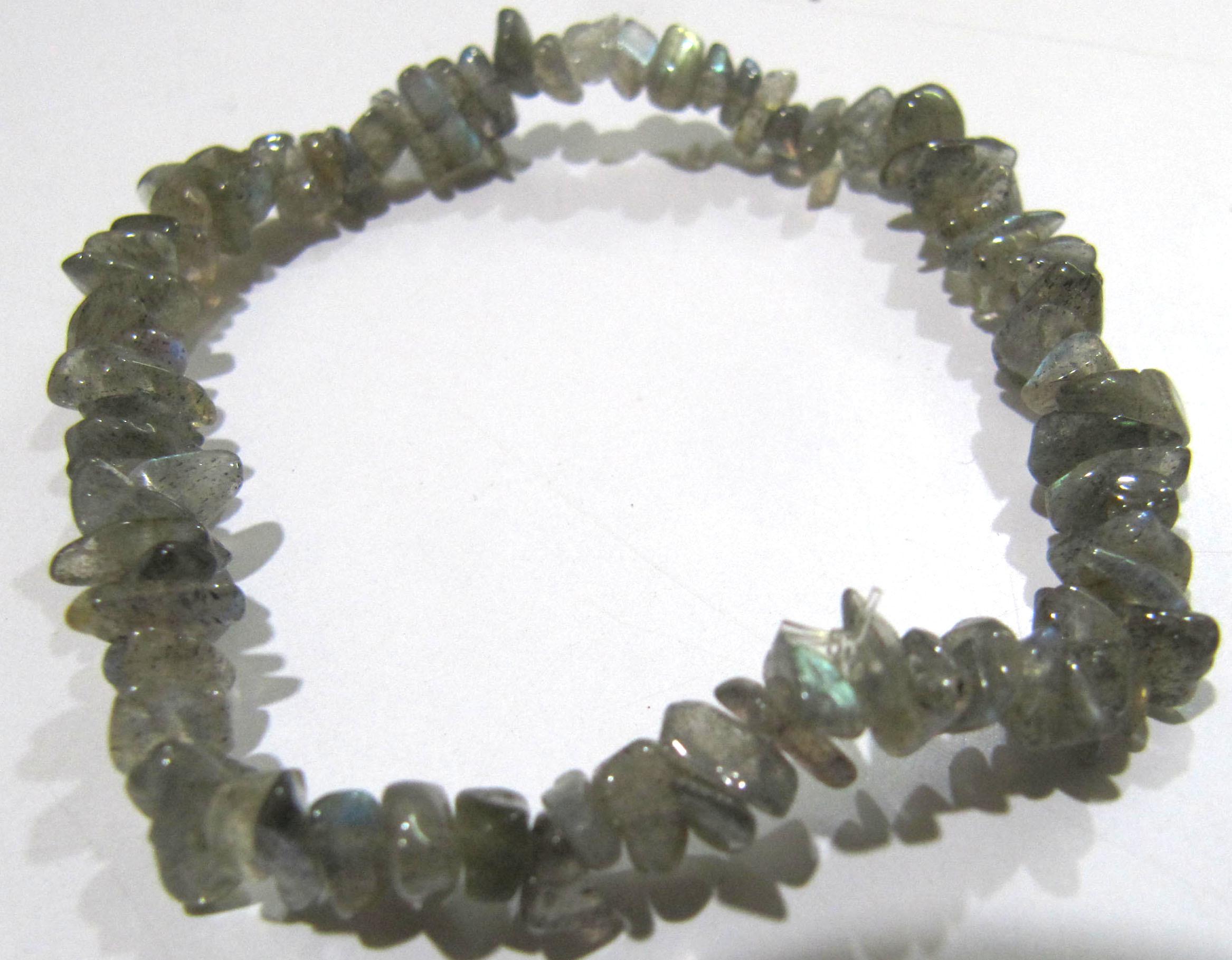 Natural Labradorite Chip Bracelet Gravel Uncut Nugget 6mm To 9mm Beads