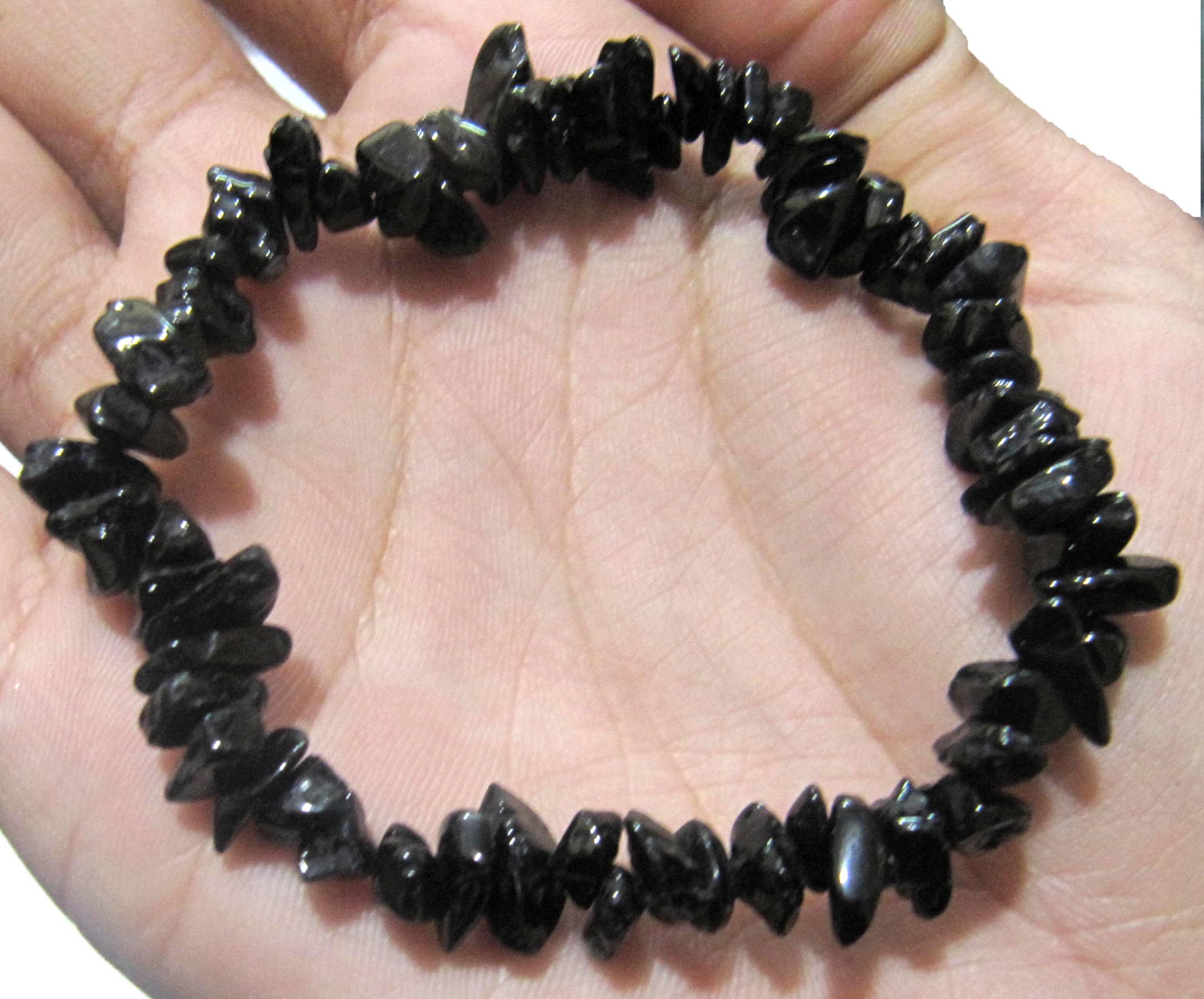 Natural Black Hydro Quartz Chip Bracelet Gravel Uncut Nugget 6mm To 9mm