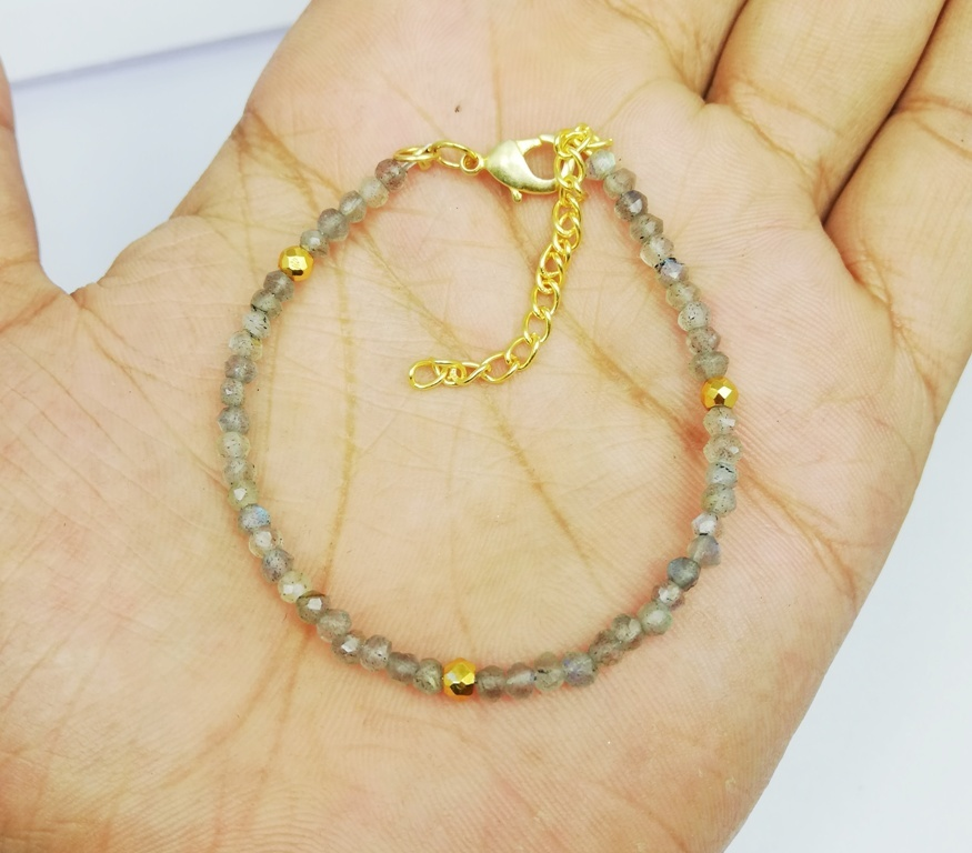 Labradorite and Gold Pyrite Faceted Rondelle Bead Bracelet