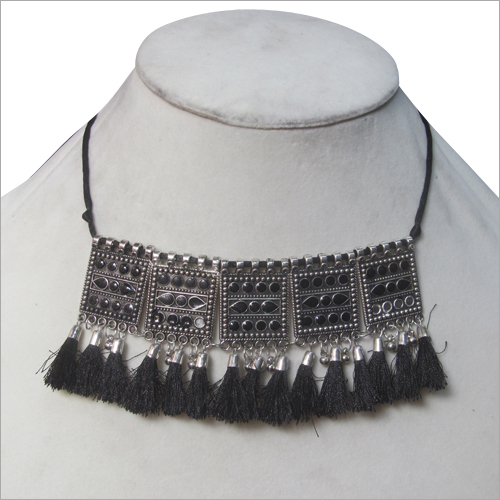 Black Tassel Choker Necklace