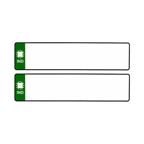 GREEN IND BLANK CAR MEDIUM NUMBER PLATES