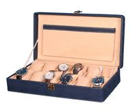 Hard Craft Watch Box Case PU Leather Blue Dotted Design for 12 Watch Slots