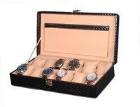 Hard Craft Watch Box Case PU Leather Black Mat Design for 12 Watch Slots