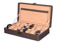 Hard Craft Watch Box Case PU Leather Grey Dotted Design for 12 Watch Slots