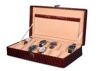 Hard Craft Watch Box Case PU Leather Maroon Croco for 12 Watch Slots