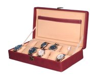 Hard Craft Watch Box Case PU Leather Maroon Dotted Design for 12 Watch Slots