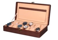 Hard Craft Watch Box Case PU Leather Brownish Dotted Design for 12 Watch Slots