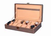 Hard Craft Watch Box Case PU Leather Grey Croco for 12 Watch Slots
