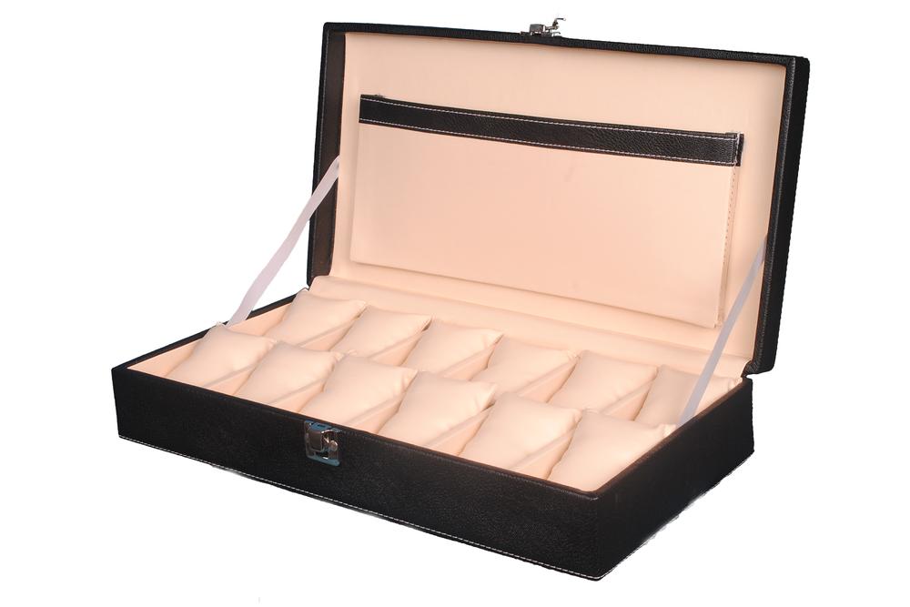 Hard Craft 12 Watch Slots PU Leather Watch Box(Black-Cream)