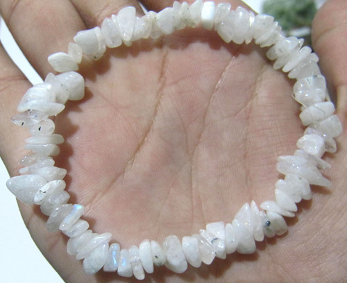 Natural White Rainbow Moonstone Chip Bracelet Gravel Uncut Nugget 6mm To 9mm Beads