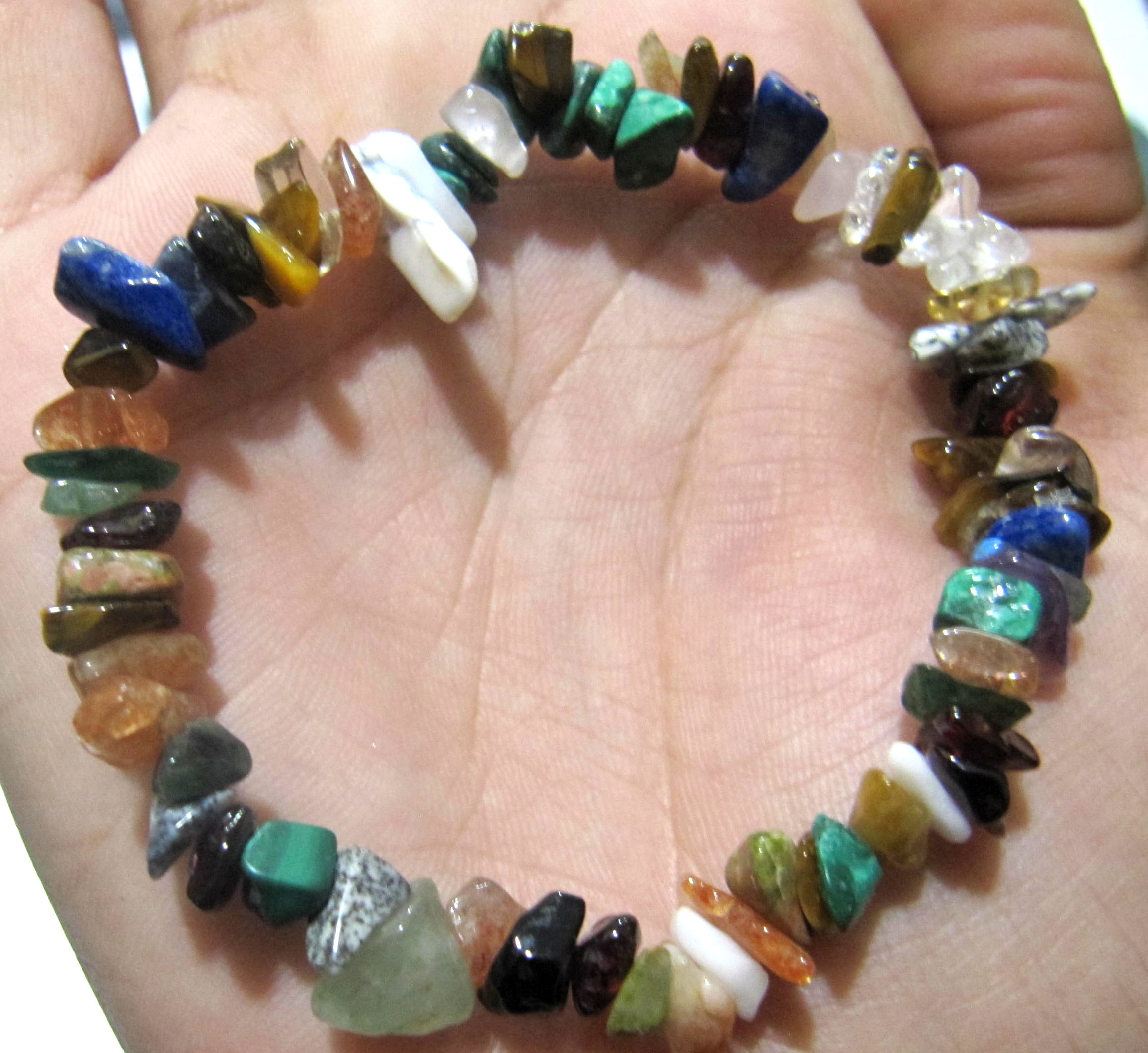 Natural Multi Stone Chip Bracelet Gravel Uncut Nugget 6mm To 9mm