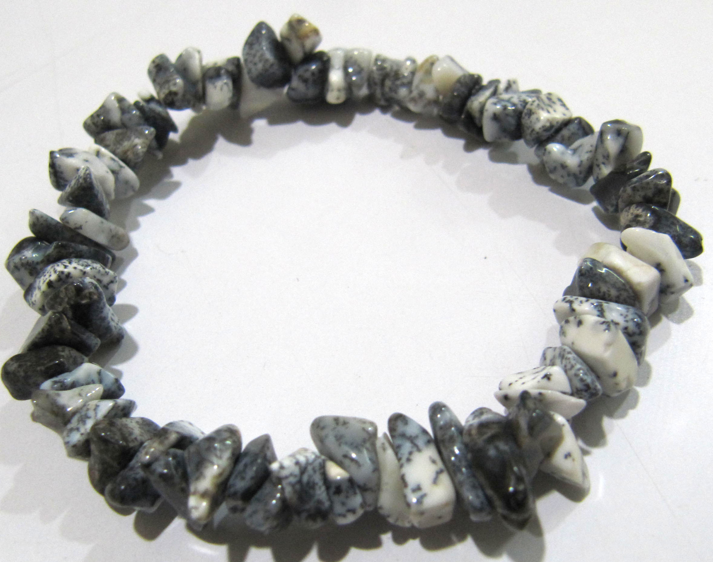 Natural Dendrite Opal Chip Bracelet Gravel Uncut Nugget 6mm To 9mm