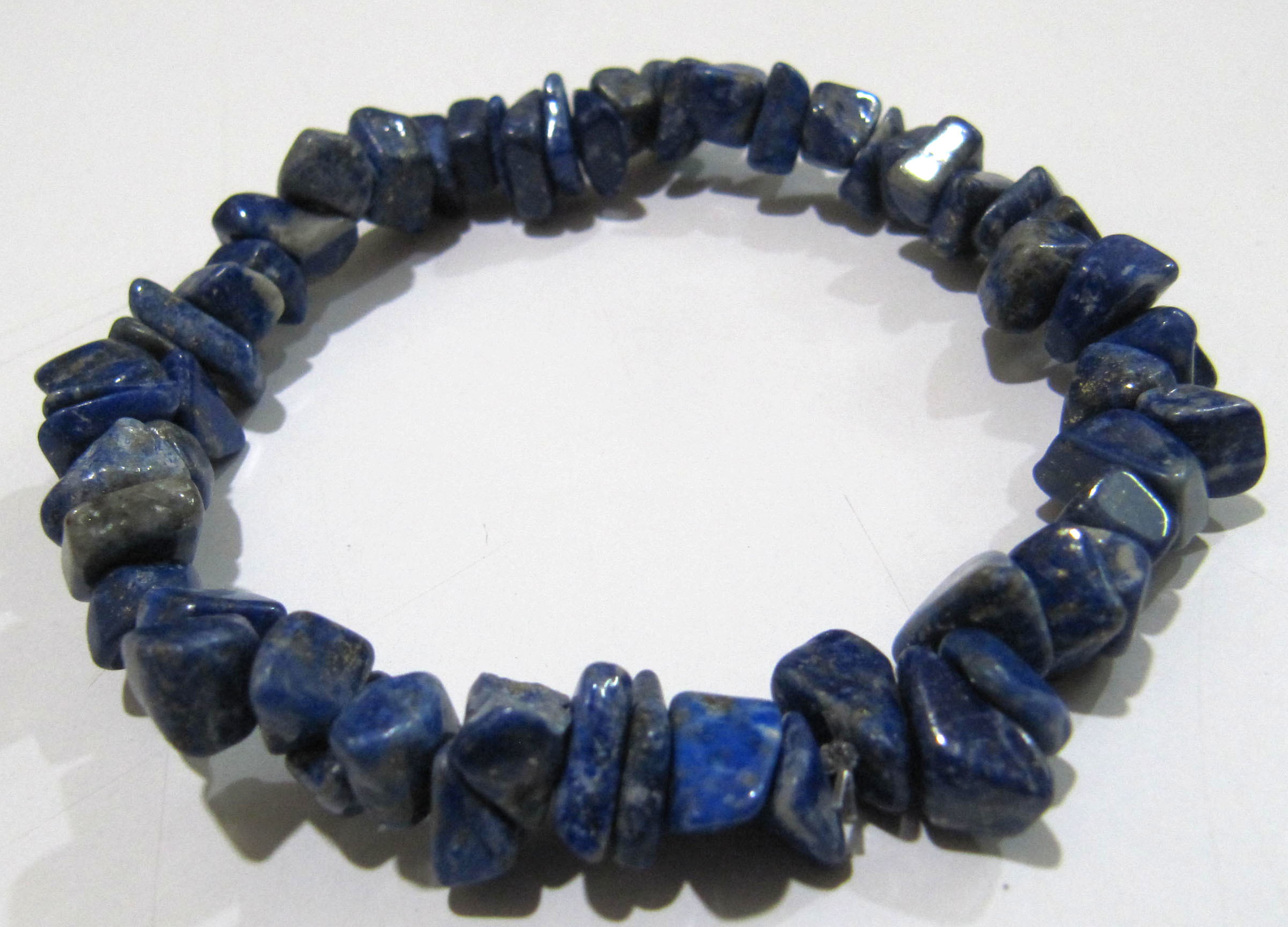 Natural Lapis Lazuli Chip Bracelet Gravel Uncut Nugget 6mm To 9mm