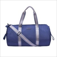 Solid Pattern Blue Gym Bag