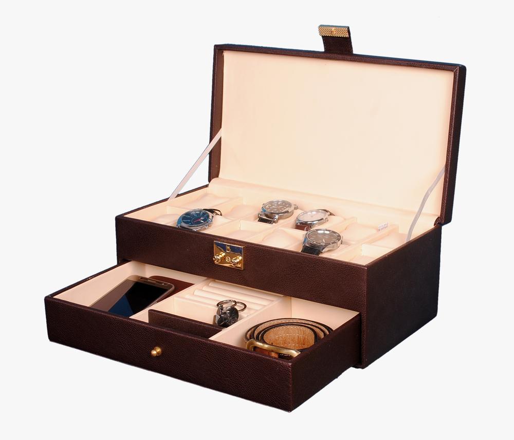 Hard Craft 12 Watch Box with Jewelry Display Drawer Lockable Watch Case Organizer