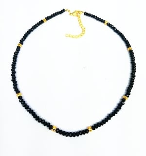 Black Onyx and Gold Pyrite 3-4mm Faceted Rondelle Bead Necklace