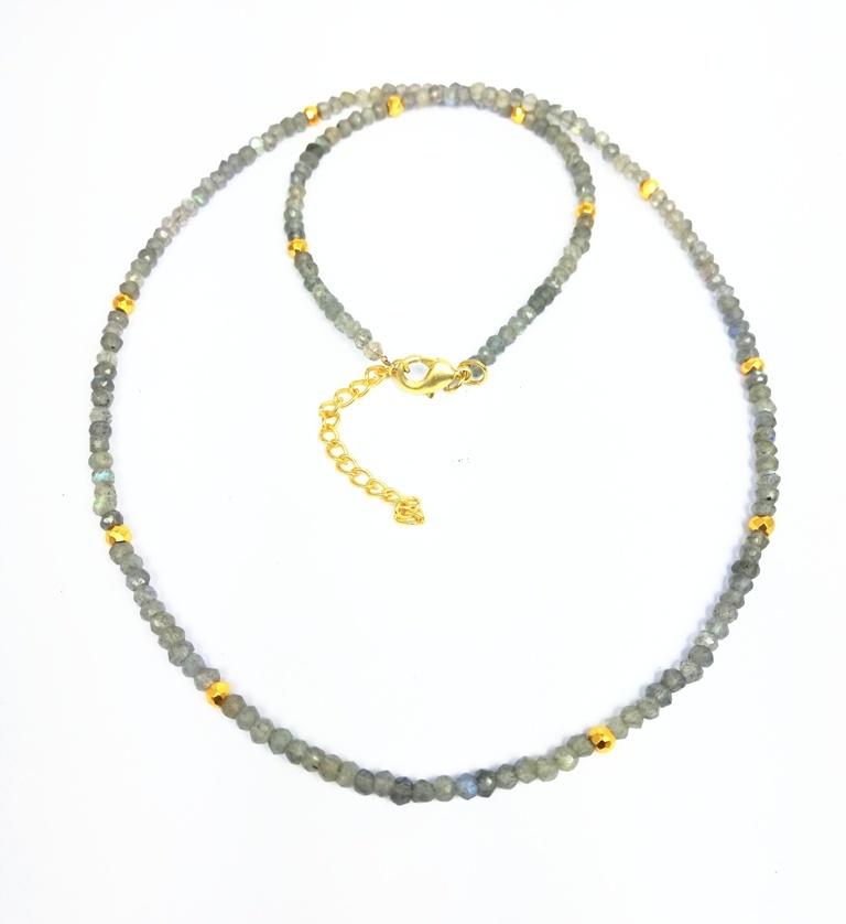 Green Onyx and Gold Pyrite 3-4mm Faceted Rondelle Bead Necklace