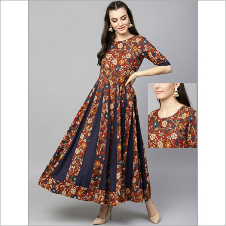 Ladies Cotton Long Kalamkari Flared Dress