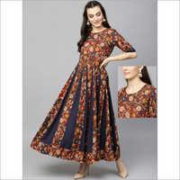 Ladies Cotton Long Kalamkari Flared Dress