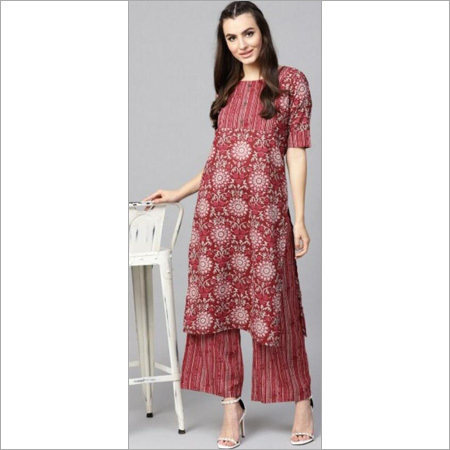 Ladies Pure Cotton Printed Kurti With Plazzo