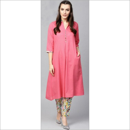 Ladies Pure Cotton A Line Kurta With Trousers