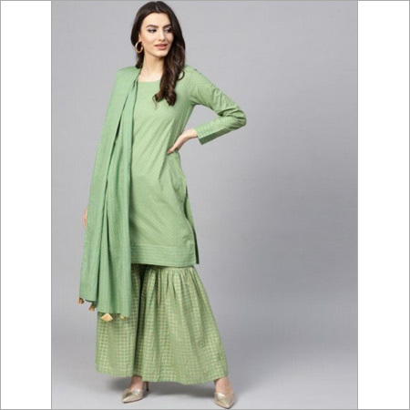 Ladies Pure Cotton Mint Green Kurti With Dupta