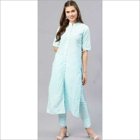 Ladies Pure Cotton Turquoise Blue Kurti With Pant