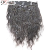 Raw Clip Unprocessed Virgin Cuticle Aligned Indian Hair Extensions