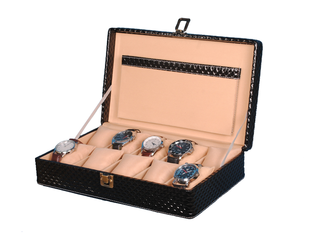 Hard Craft Watch Box Case PU Leather Black Mat Design for 10 Watch Slots