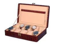 Hard Craft Watch Box Case PU Leather Maroon Croco for 10 Watch Slots