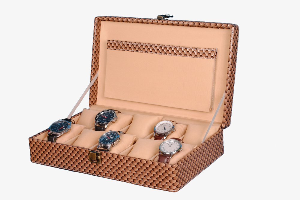 Hard Craft Watch Box Case PU Leather Brownish Mat for 10 Watch Slots