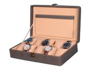 Hard Craft Watch Box Case PU Leather Grey Dotted Design for 10 Watch Slots