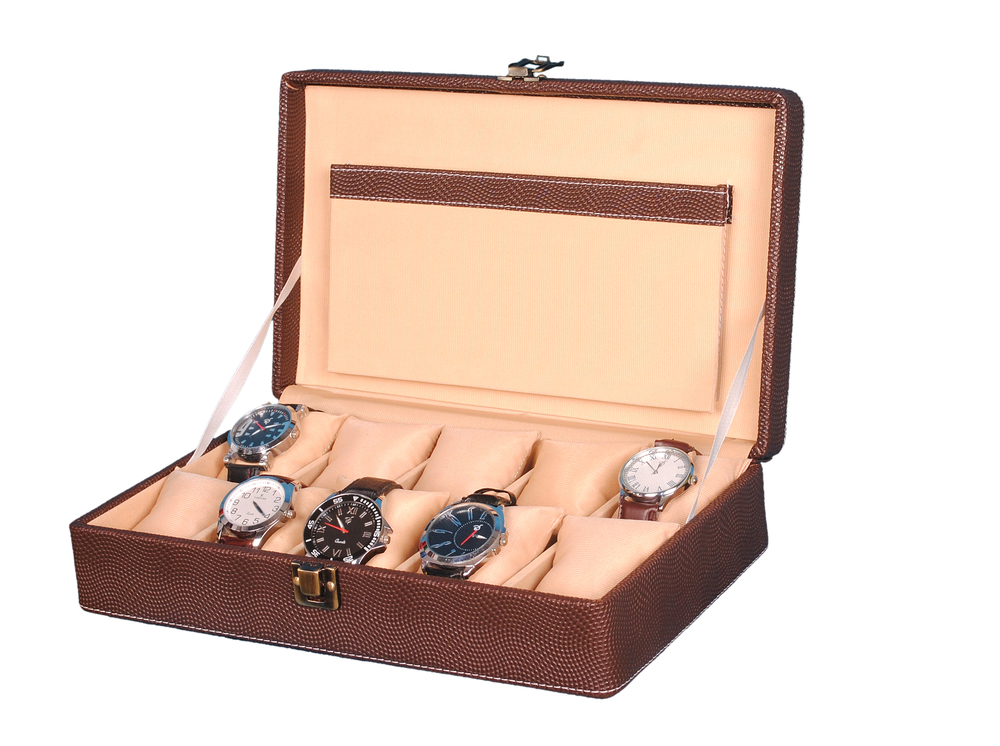 Hard Craft PU Leather Brown Dotted Watch Box Case with 10 Watch Slots (Brown)